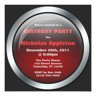 "Hi-Tech Sphere Red Birthday Party Invitations 5.25"" Square Invitation Card"