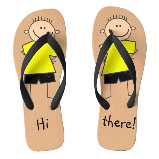Hi there Fun Boy Stick Figure Flip Flops