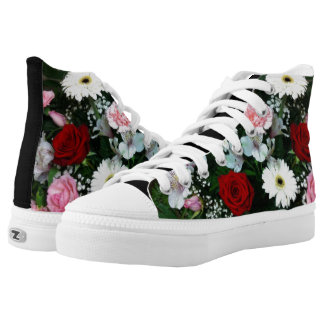 Hi Top Sneaker Shoe Roses And Flowers Design Printed Shoes