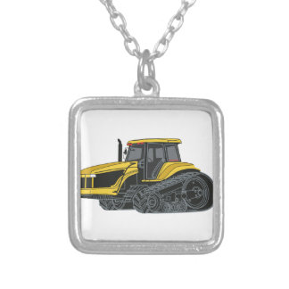 Hi Track Tractor Silver Plated Necklace