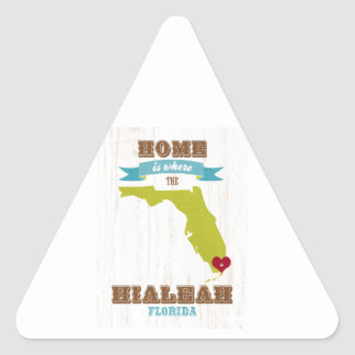 Hialeah, Florida Map – Home Is Where The Heart Is Triangle Sticker