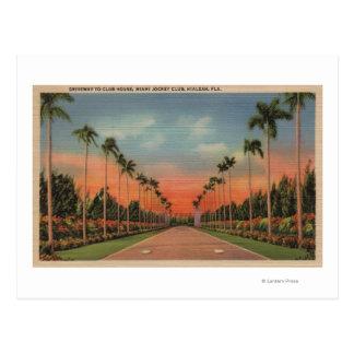 Hialeah, Florida - Miami Jockey Club Driveway Postcard