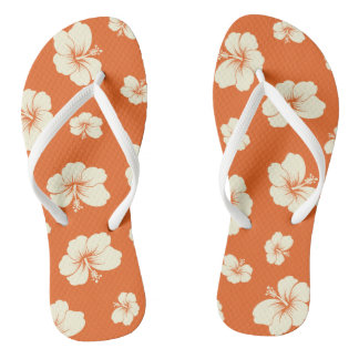 Hibiscus Adult, Slim Straps Flip Flops