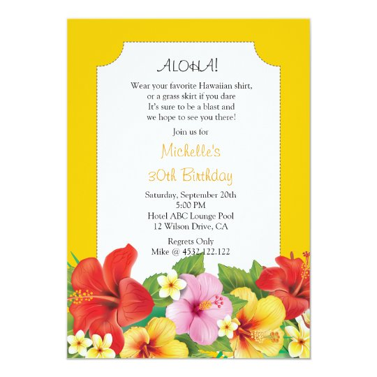 Hibiscus and Plumeria Luau Birthday Party Card