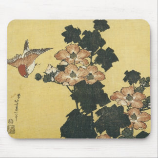 Hibiscus and Sparrow, Hokusai, 1833-34 Mousepad