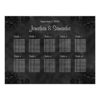 Hibiscus Black 10 Tables Wedding Seating Chart Poster