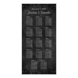 Hibiscus Black 14 Tables Wedding Seating Chart Poster