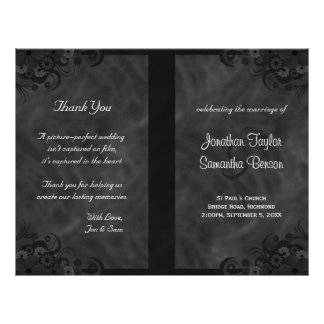 Hibiscus Black Floral Goth Folded Wedding Programs Personalized Flyer