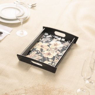 Hibiscus Black Serving Tray