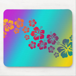 hibiscus blooms | coloured background mouse pad