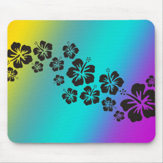 hibiscus blooms in black | coloured background mouse pad