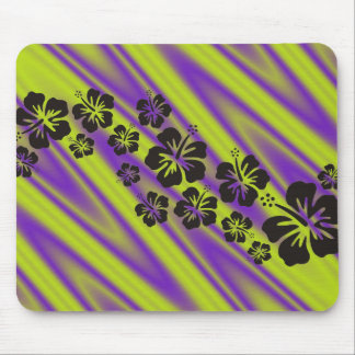 hibiscus blooms in black | green violet waves mouse pad