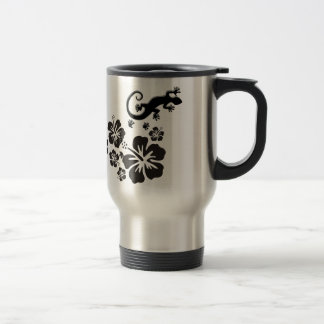 hibiscus blooms in black with Geckos Travel Mug