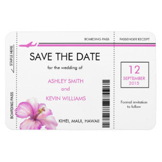 Hibiscus Boarding Pass Save the Date Magnets