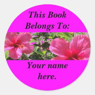 Hibiscus, Book Plates Classic Round Sticker