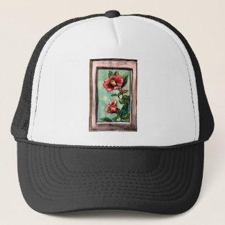 hibiscus china rose trucker hat