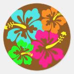 Hibiscus Circle Classic Round Sticker
