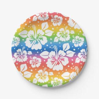 "Hibiscus Custom Paper Plates 7"" 7 Inch Paper Plate"