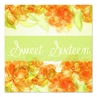 Hibiscus Customizable Sweet Sixteenth Birthday 13 Cm X 13 Cm Square Invitation Card