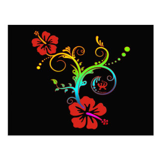 Hibiscus Decor Coloured Post Card