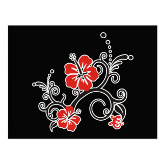 Hibiscus Decor in black & red Postcard