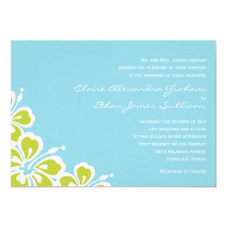 Hibiscus Delight Wedding Invitation - Sky Blue