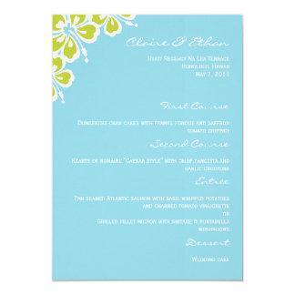 Hibiscus Delight Wedding Menu Card - Sky Blue 13 Cm X 18 Cm Invitation Card
