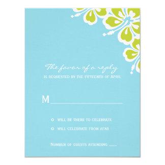 Hibiscus Delight Wedding RSVP Card - Sky Blue - 11 Cm X 14 Cm Invitation Card
