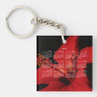 Hibiscus Detail; 2013 Calendar Single-Sided Square Acrylic Key Ring