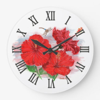 Hibiscus & Dragonfly Large Round Clock