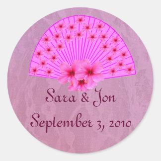 Hibiscus Fan on Pink Lace Envelope Seals Round Sticker