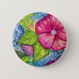 Hibiscus Fantasy Watercolor 6 Cm Round Badge