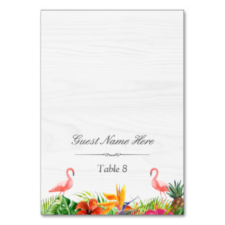 Hibiscus Floral Flamingo Wedding Place Escort Card