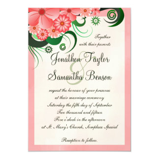 "Hibiscus Floral Pink 5"" x 7"" Wedding Invitations"