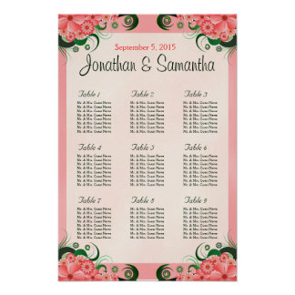 Hibiscus Floral Pink 9 Wedding Table Seating Chart Poster