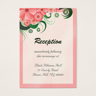 Hibiscus Floral Pink Reception Enclosure Cards