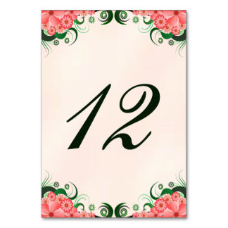 Hibiscus Floral Pink Reception Table Number Cards Table Card