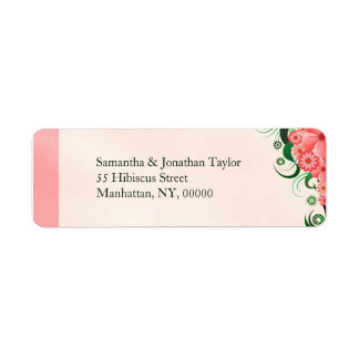Hibiscus Floral Pink Small Return Address Labels
