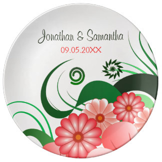 Hibiscus Floral Pink Wedding 10.75 Porcelain Plate