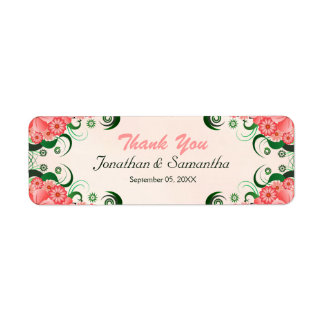 Hibiscus Floral Pink Wedding Favor Favour Labels