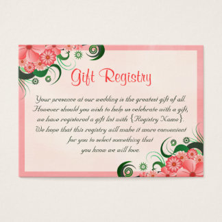 Hibiscus Floral Pink Wedding Gift Registry Cards