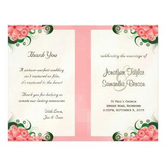 Hibiscus Floral Pink Wedding Program Templates 21.5 Cm X 28 Cm Flyer