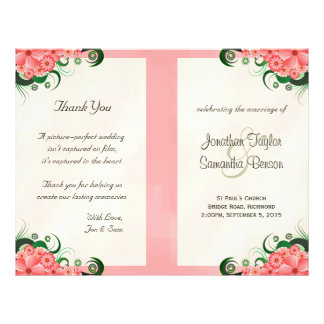 Hibiscus Floral Pink Wedding Program Templates Flyer