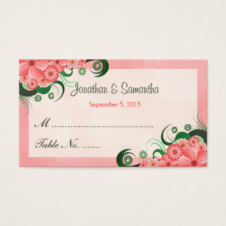 Hibiscus Floral Pink Wedding Table Place Cards