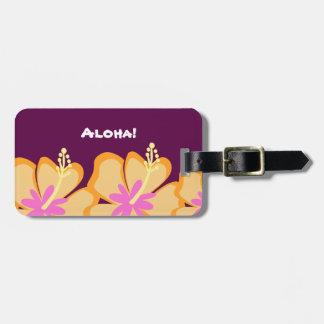 Hibiscus Flower Customizable Luggage Tag (Purple)
