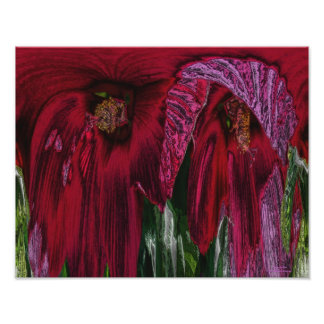 Hibiscus Flower Fantasy Floral Abstract Print