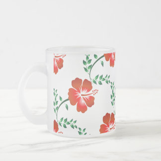Hibiscus flower 10 oz frosted glass coffee mug
