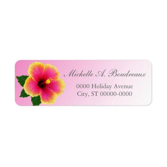 Hibiscus Flower on Pink Return Address Label