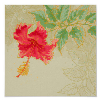 Hibiscus flower on toned background poster
