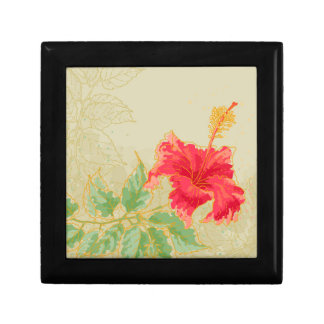 Hibiscus flower on toned background small square gift box